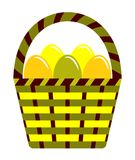 Easter eggs in basket. Isolated on white background Stock Image