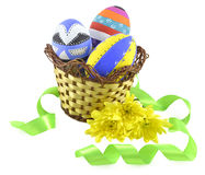 Easter eggs in basket with lace Stock Photos