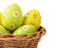 Easter eggs in a basket from left corner Stock Photography