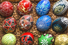 Easter eggs in basket with lentils Royalty Free Stock Photo