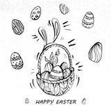 Happy Easter Eggs On A Basket Line Art retro style. Easter Eggs On A Basket Line Art Royalty Free Stock Photos
