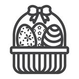 Easter Eggs In Basket line icon, easter. And holiday, decor sign vector graphics, a linear pattern on a white background, eps 10 Royalty Free Stock Images