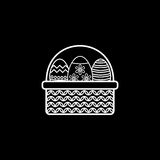 Easter eggs in basket line icon, religion holiday. Elements, Happy easter sign, a linear pattern on a black background, eps 10 royalty free illustration