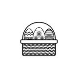Easter eggs in basket line icon, religion holiday. Elements, Happy easter sign, a linear pattern on a white background, eps 10 vector illustration