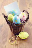 Easter eggs in a basket with notice paper copy space.  royalty free stock images