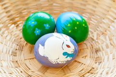 Easter eggs in a basket. The painted Easter eggs in a basket Royalty Free Stock Photography