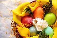 Easter eggs in basket, painted in different colors with pearly shimmer Royalty Free Stock Photos