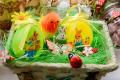 Easter eggs basket Royalty Free Stock Photo