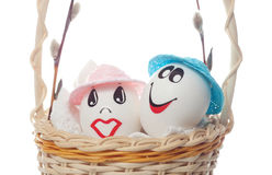 Easter eggs in a basket Stock Photo