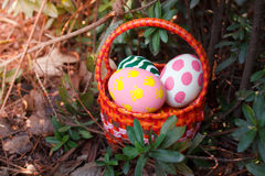 Easter eggs in the basket. Royalty Free Stock Photography