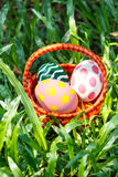 Easter eggs in the basket. Stock Image