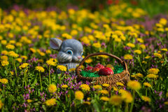Easter eggs in basket and rabbit Stock Photo