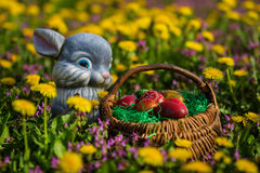 Easter eggs in basket and rabbit Royalty Free Stock Images