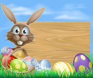 Easter eggs basket rabbit Royalty Free Stock Photos