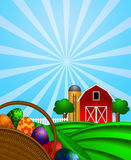 Easter Eggs Basket with Red Barn on Green Pasture. Happy Easter Day Eggs Basket with Red Barn Grain Elevator Silo and Trees on Green Pastures Illustration Royalty Free Stock Photo