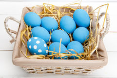 Easter eggs in a basket on rustic wooden background, selective focus image, Happy Easter. Blue Easter eggs Stock Photography