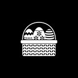 Easter eggs in basket solid icon, religion holiday. Elements, Happy easter sign, a filled pattern on a black background, eps 10 royalty free illustration