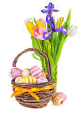 Easter eggs in a basket and spring flowers Stock Photography