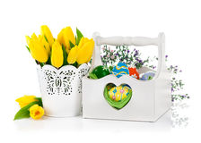 Easter eggs in basket with spring flowers Royalty Free Stock Images