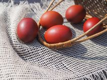 Easter eggs in a basket on the table. stock photo