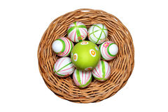 Easter eggs in a basket top view Stock Image