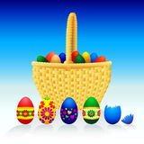 Easter Eggs and Basket - Vector Royalty Free Stock Images