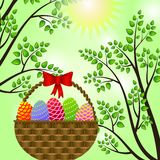 Easter eggs in a basket. Vector illustration Royalty Free Stock Photography