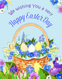 Easter eggs basket vector paschal poster design Royalty Free Stock Photo