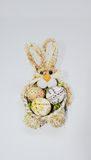 Easter Eggs in basket. On the white background Stock Photo