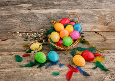 Easter eggs in basket and willow branches Stock Photography