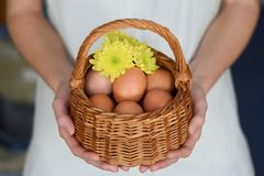 Easter eggs in basket in woman hands stock photo