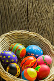 Easter eggs in basket and wood background Royalty Free Stock Image