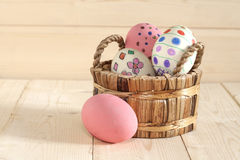 Easter eggs in the basket Stock Photo