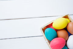 Easter eggs in basket on wooden table . happy easter stock photo