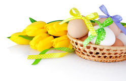 Easter eggs in the basket and yellow tulips isolated on a white Royalty Free Stock Photography