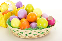 Easter eggs in baskets Royalty Free Stock Images