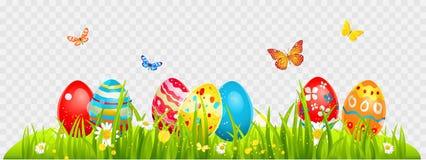 Easter eggs and batterflies stock illustration