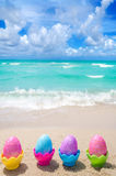 Easter eggs on the beach Royalty Free Stock Photo