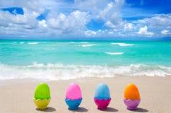Easter eggs on the beach Royalty Free Stock Photos
