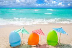 Easter eggs on the beach Royalty Free Stock Image