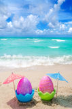 Easter eggs on the beach Stock Images