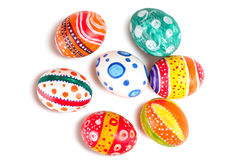 Easter eggs. In beautiful and different colors on a white isolated background royalty free stock images