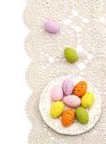Easter eggs on beautiful napkin Stock Image
