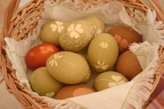 Easter eggs with a beautiful pattern stock photo