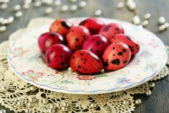 Easter eggs on a beautiful plate. Stock Photos