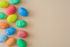 Easter eggs on a beige background Royalty Free Stock Images