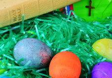 Easter Eggs and Bible Royalty Free Stock Photos