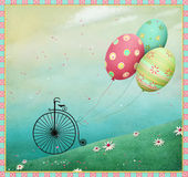 Easter eggs and bicycle Royalty Free Stock Images