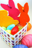 Easter eggs in a bird nest Stock Photos