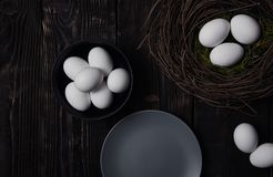 Easter eggs and bird nest Royalty Free Stock Photo
